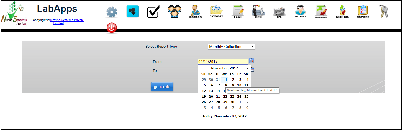 monthly report from date