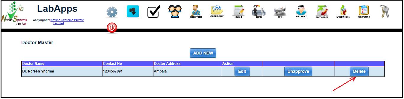 nevino doctor delete button