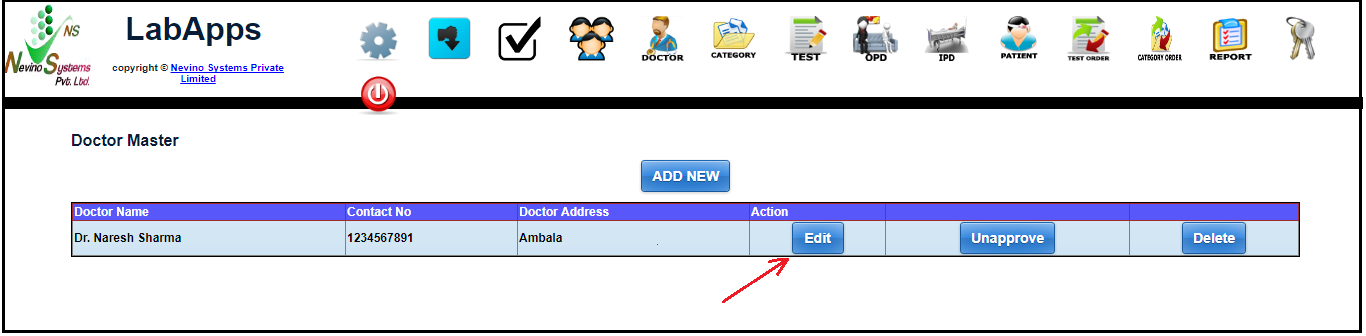 nevino doctor edit button