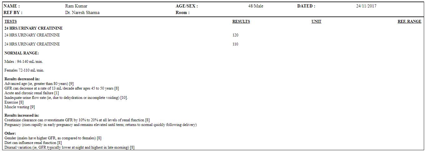 nevino urinary creatinine report with summery
