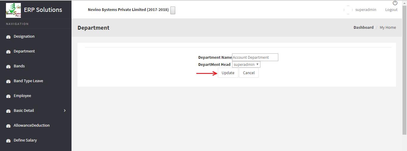 hr department update button