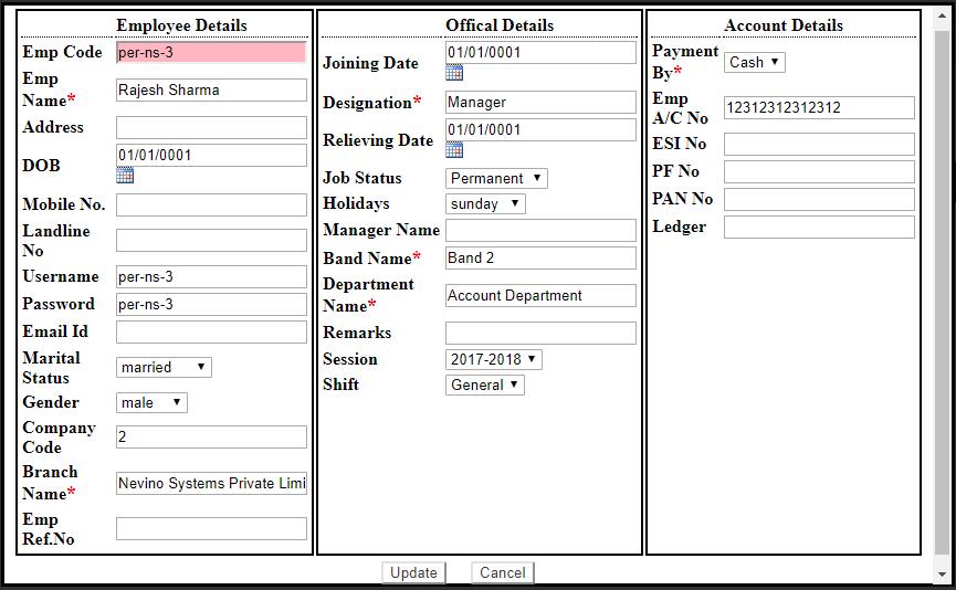hr employee details